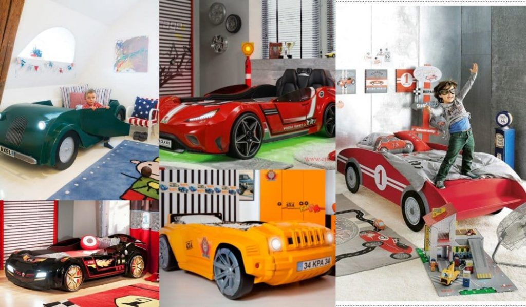 Cama con forma de coche para niños - Modelos, fotos, habitaciones