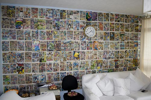 decorar pared con comics