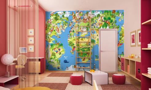 empapelar la habitacion con un mapa