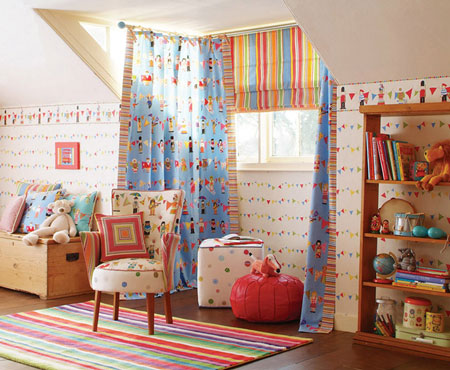 decoracion infantil con telas y papeles pintados
