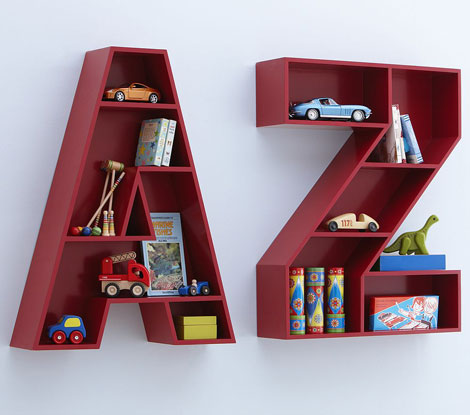 estantería infantil letras