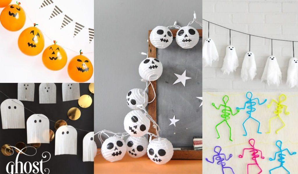 23 Guirnaldas de Halloween para niños con tutoriales y plantillas