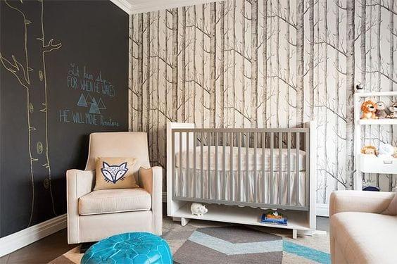 Habitación bebé bosque. Papel pintado Wood Cole & Son