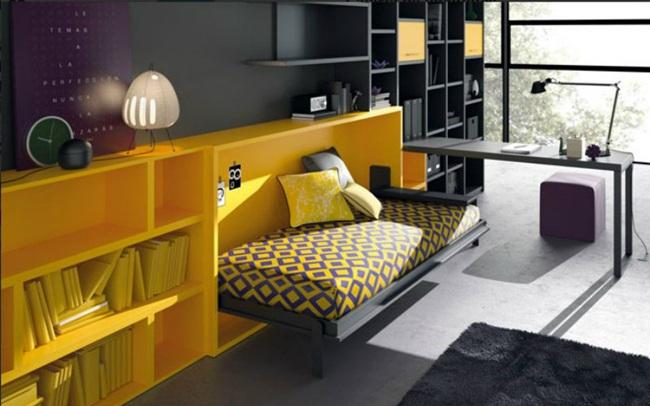 Habitaciones infantiles pequeñas con camas abatibles