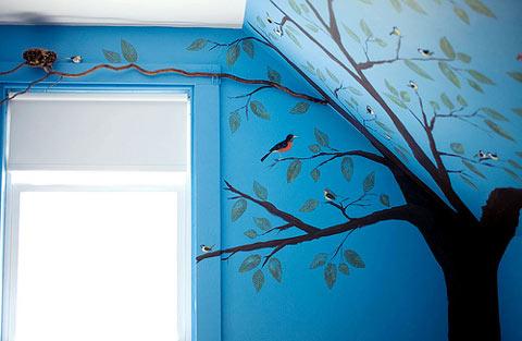 Decoración pintada a mano habitación bebé