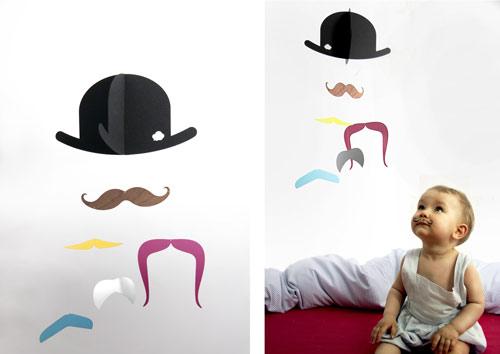 Móvil original para bebés: Mr.Moustache