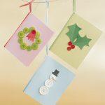 Manualidades navideñas: tarjetas hechas con botones