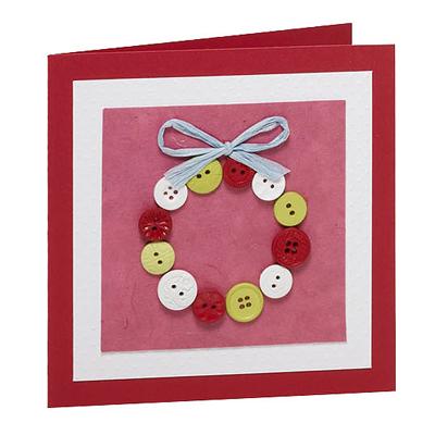 Manualidades navide as tarjetas hechas con botones - Ideas para hacer postales de navidad con ninos ...