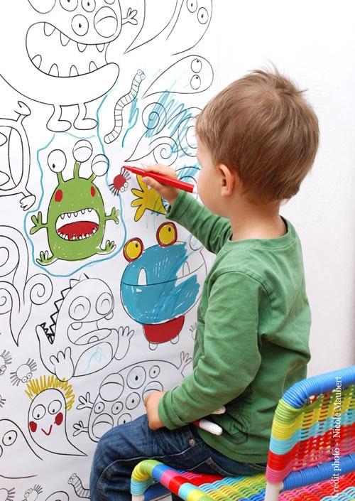 Papel pintado infantil para colorear - Papeles infantiles para paredes ...