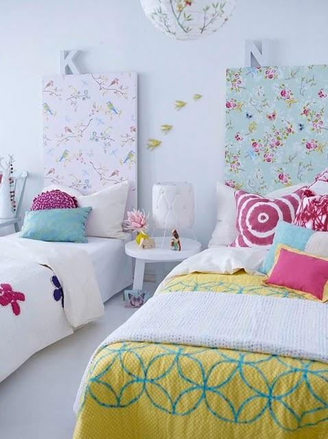 Rom ntica habitaci n para dos decoraci n infantil - Cabeceros tapizados originales ...