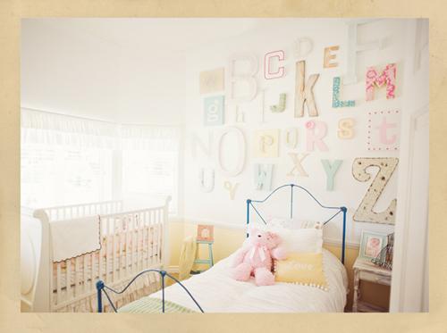 Inspiraci n pared infantil letras - Letras para paredes infantiles ...