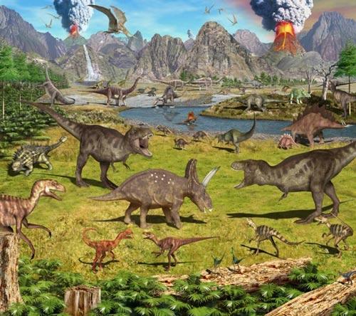 Mural infantil de dinosaurios