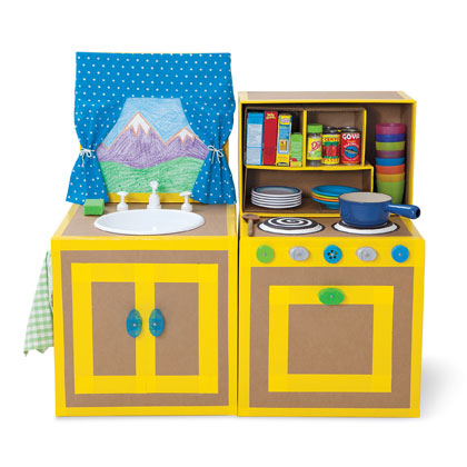 Fabricar una cocinita de cart n decoideas net for Caja de colores jardin infantil