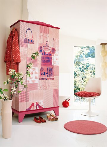 Diy decorar muebles infantiles - Decoracion con papel pintado y pintura ...