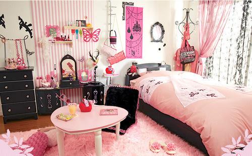 Cortinas De Baño Rockeras:Girls Room Pink Black Bedroom