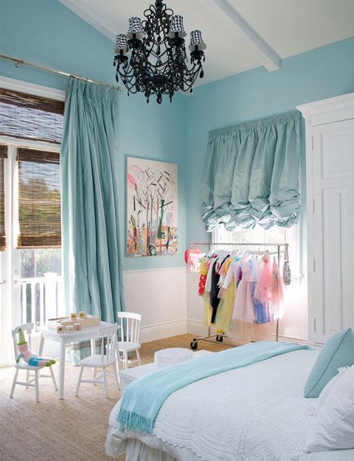 Dormitorio azul y blanco para niu00f1as