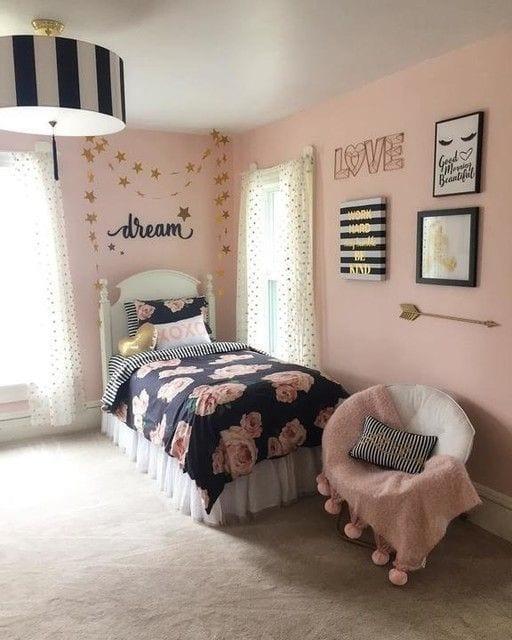 Habitaciones juveniles en rosa y negro