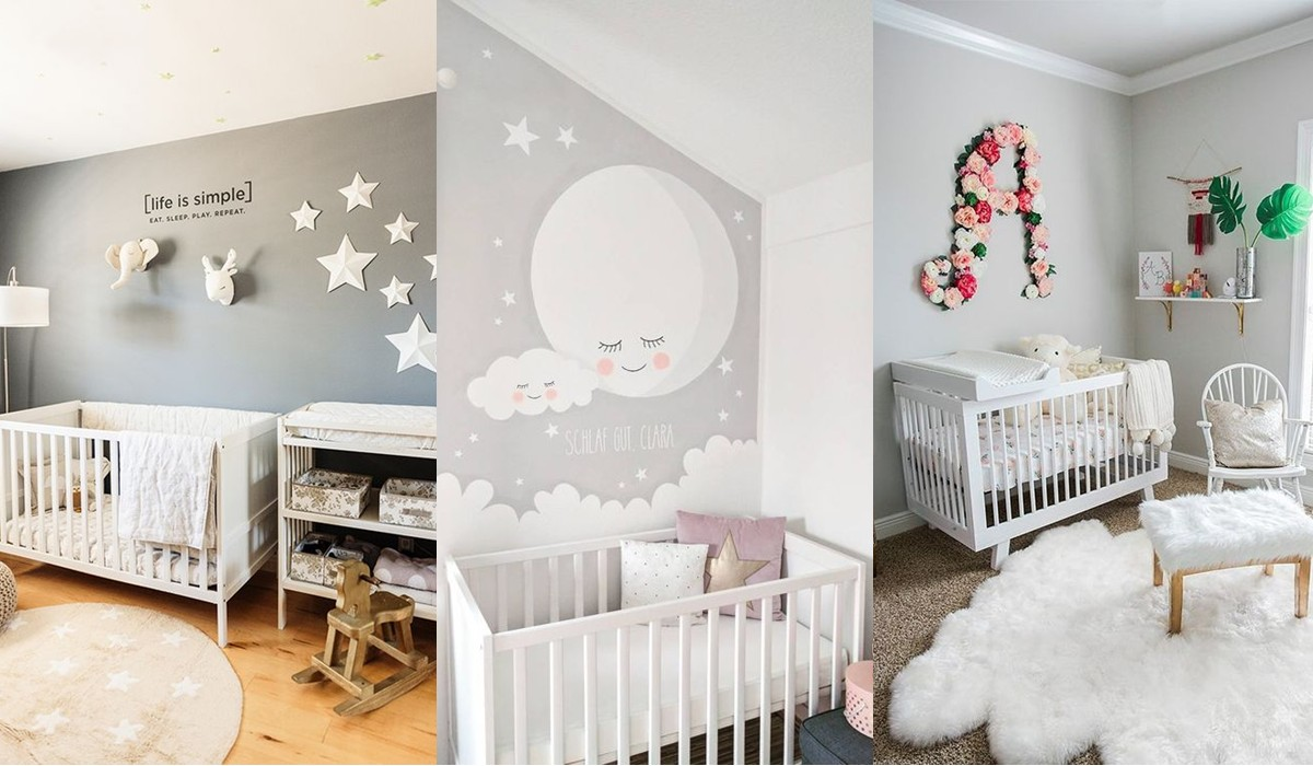 Dormitorios en gris para beb s for Dormitorio gris y blanco
