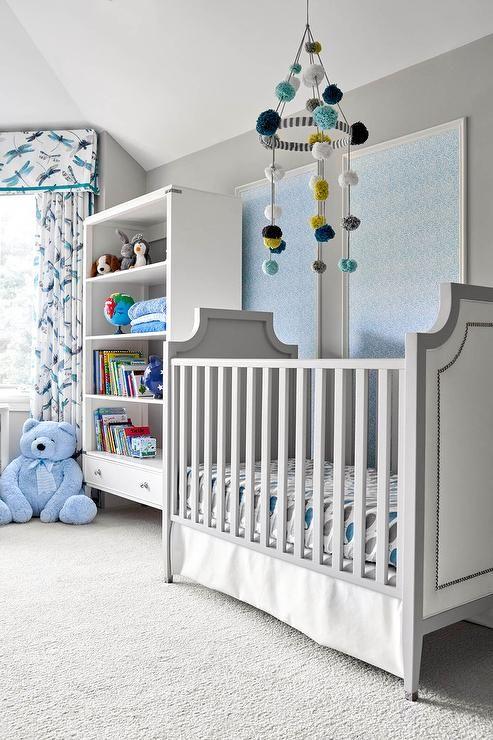 Habitación bebé gris y azul