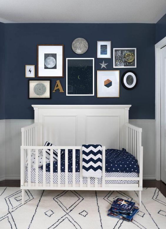 Dormitorios en gris y azul para bebés