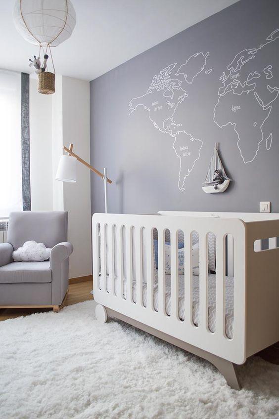 Dormitorios en gris para beb s for Habitacion bebe gris