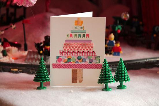 Ideas para decorar tarjetas de navidad con washi tape - Manualidades postales navidad ...