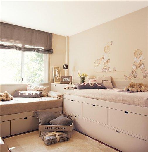 Ejemplos de habitaciones infantiles compartidas for Mueble cuadrados ikea