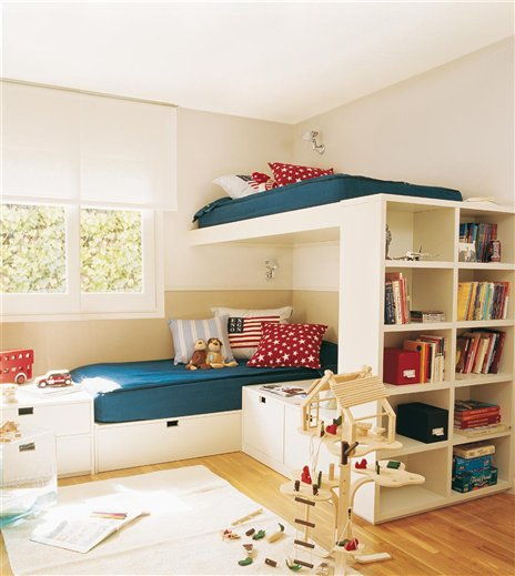 Ejemplos de habitaciones infantiles compartidas for Habitacion infantil dos camas