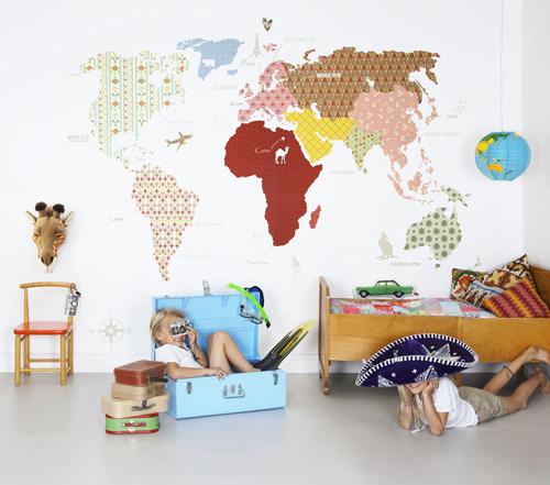 Murales infantiles de papel - Mapa mundi mural ...