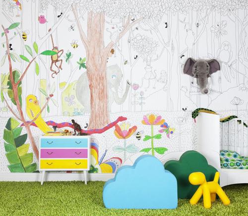 Murales infantiles de papel - Pintar mural en pared ...