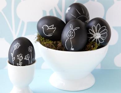 Decorar huevos con pintura pizarra