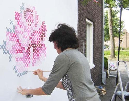Pintar un bordado en la pared - Pintar paredes infantiles ...