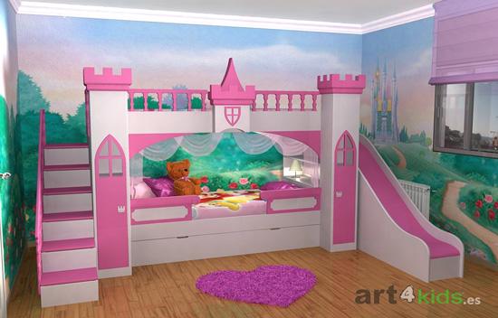 Cama castillo de princesas for Habitaciones para ninas frozen