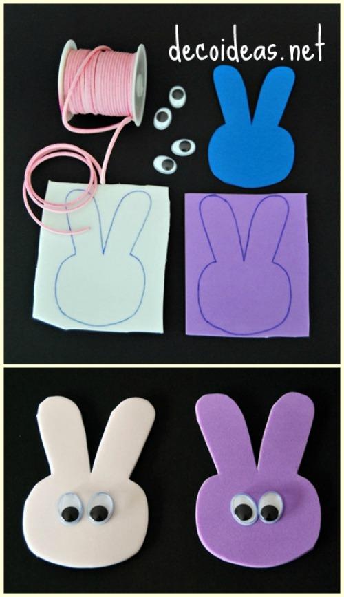 Materiales para hacer un collar conejo de Pascua