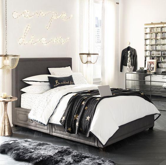 Tendencia habitaciones juveniles en blanco y negro para chicas