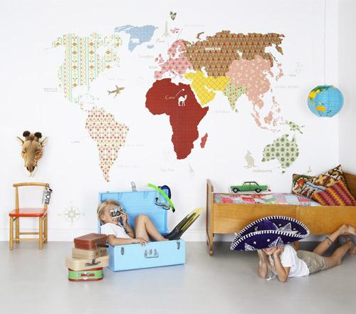 Murales infantiles mapamundi - Papel pintado mapamundi infantil ...
