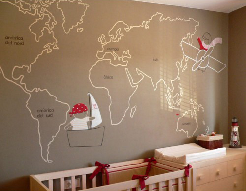 Murales infantiles mapamundi for Ideas decoracion habitacion