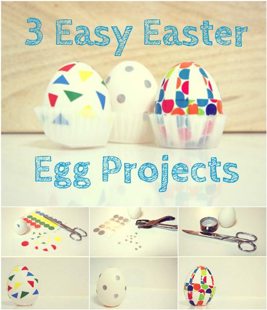 Huevos de Pascua decorados con gomets