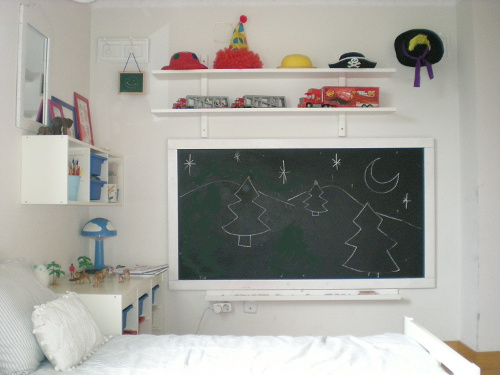 Proyecto de decoraci n habitaci n compartida decoideas net - Pizarra decoracion pared ...