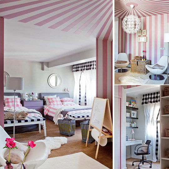 Habitación compartida para niñas en negro y rosa