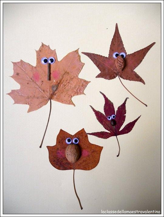 manualidades con hojas de arbol imagui