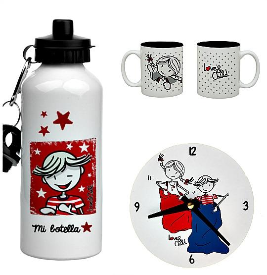Cantimploras, tazas, relojes decorativos, regalos para bebés...