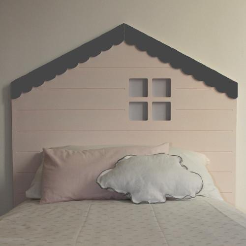 Cabezal para niñas con forma de casita en rosa y gris.