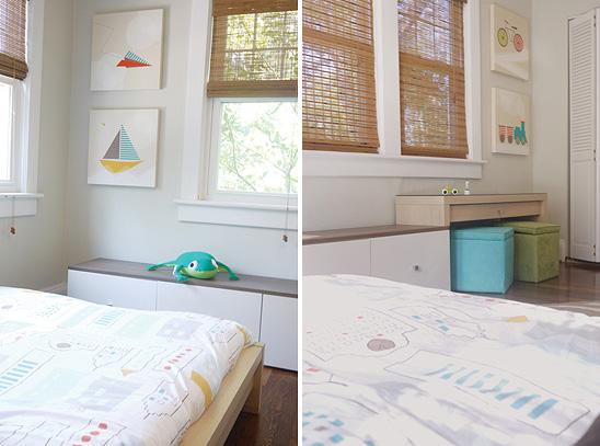 Un dormitorio infantil decorado en colores neutros