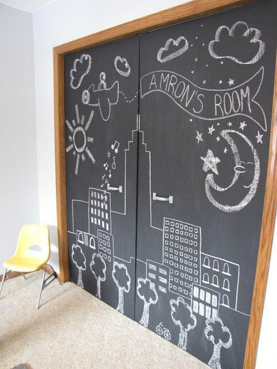 Pintura de pizarra para los armarios infantiles