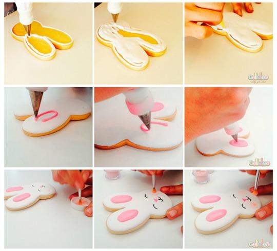 Decorar una galleta con forma de conejo paso a paso