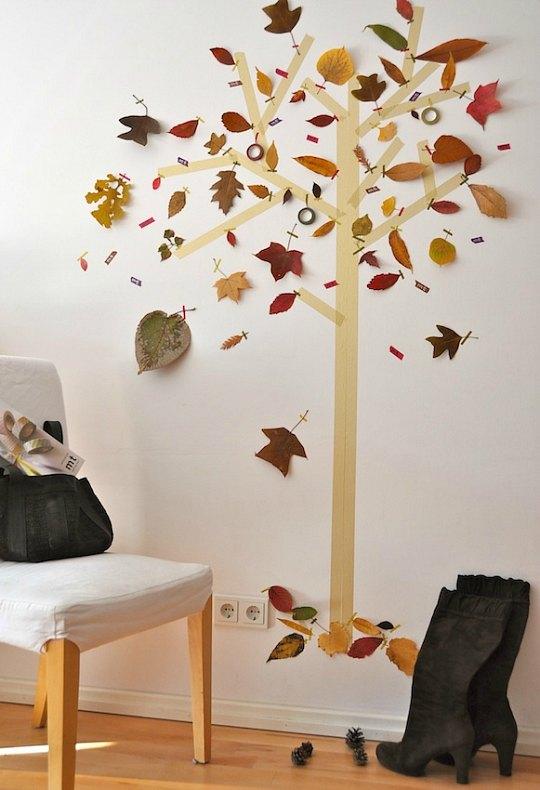Hazlo tú mismo: Árbol de washi tape y hojas