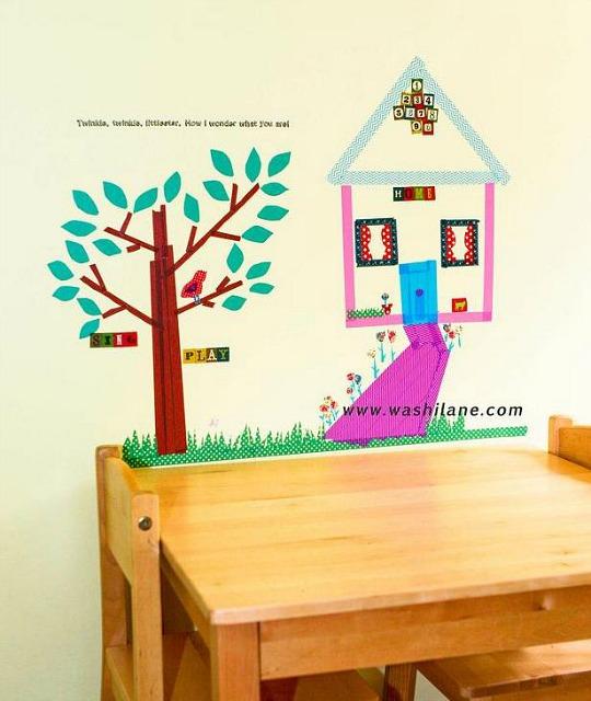 Mural infantil de washi tape