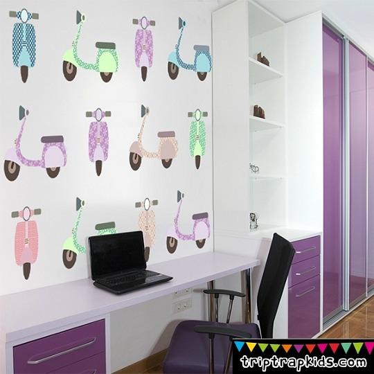 Furgonetas y vespas retro para las habitaciones juveniles for Vinilos decorativos dormitorios juveniles