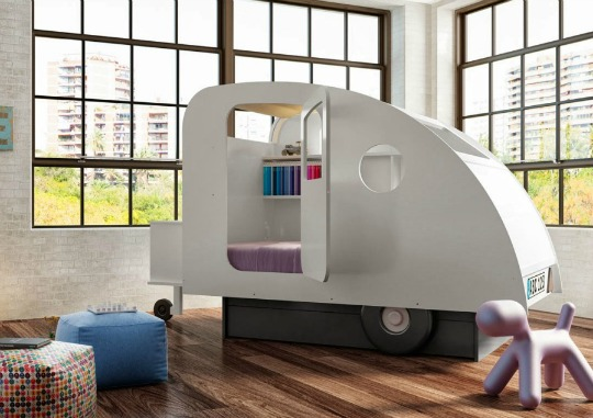 cama infantil con diseo de caravana